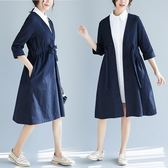 大碼女裝休閒寬鬆中長款秋冬風衣外套新款森女系文艺范两件套衬衣拼接大码系带外套N803-6685