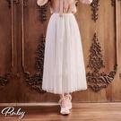 裙子 珍珠羽毛鬆緊紗裙長裙-Ruby s 露比午茶