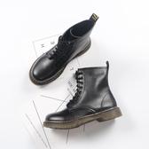 馬丁靴 英倫風女鞋春繫帶短靴女馬丁靴學院復古靴子學生高筒機車靴【快速出貨】