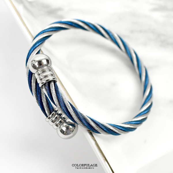白鋼手環 經典雙色鋼索NA507