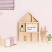 裝飾木房子桌面墻壁置物架創意格子展示擺拍背景道具少女家居壁掛WY【免運】