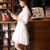 襯衫裙 超仙白色連身裙女夏季新款韓范文藝修身顯瘦中長款a字襯衫裙 交換禮物