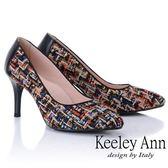 ★2018秋冬★Keeley Ann年代風華~繽紛布拼接風真皮軟墊高跟鞋(黑色) -Ann系列