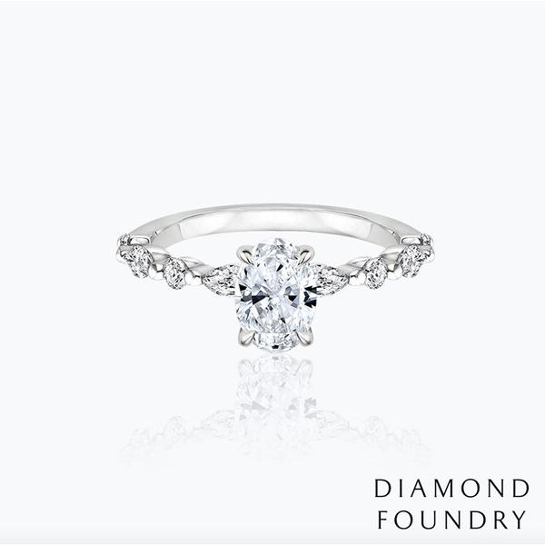 【DIAMOND FOUNDRY 培育鑽石】凡爾賽橢圓鑽石婚戒 1.06克拉 E VS2 100%真鑽 附GIA或IGI證書