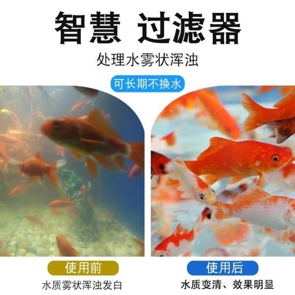 魚缸過濾器 魚缸過濾器循環養魚內置凈水水系統圓形三合一增氧泵金魚缸圓陶瓷 快速出貨