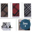 SONY Xperia X 七號格吸合款 皮套 側翻皮套 支架 插卡 格紋 手機套 手機殼 保護殼
