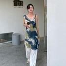 潑墨印花吊帶洋裝連身裙吊帶裙韓版【89-16-8Q368-21】ibella 艾貝拉