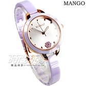 MANGO 6點花朵時刻 陶瓷錶 藍寶石水晶 女錶 紫色x玫瑰金 山茶花 防水手錶 MA6689L-77