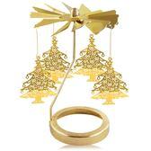 歐沛媞 歐式旋轉燭罩蠟燭台-金-冬日雪松 加贈YANKEE CANDLE 香氛蠟燭49g