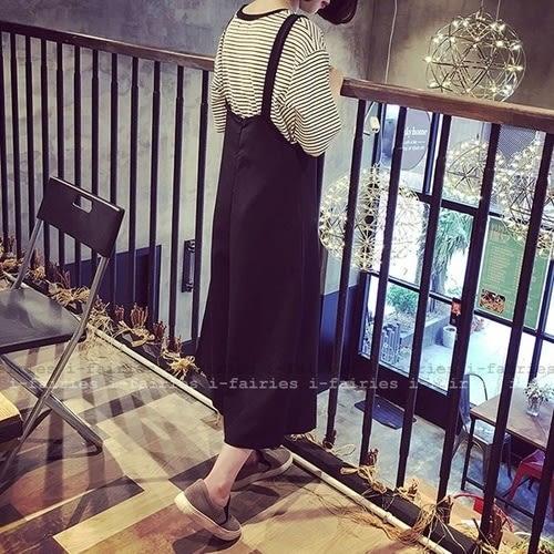 5天出貨★寬褲 九分背帶褲寬鬆闊腿裙褲★ifairies【28065】