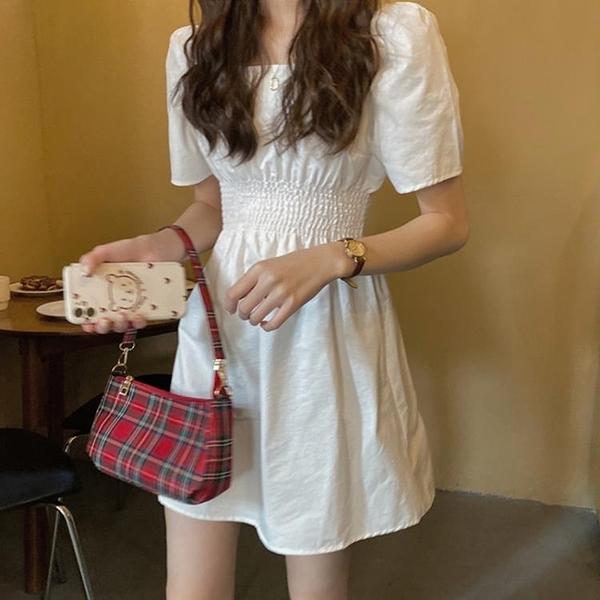 白色洋裝 法式復古白色方領泡泡袖裙子女2020夏裝新款宮廷風氣質女神洋裝 果果生活館