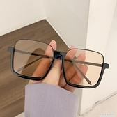 素顏超大框防藍光復古眼鏡ins下半框方形凹造型太陽鏡女街拍墨鏡 極簡雜貨