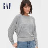 Gap女裝 棉質舒適圓領針織上衣 544811-淺麻灰色