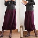 親膚防風紫色羊毛呢A字長裙遮胯長版/設計家 Q91118