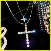 【伊人閣】十字架 氣質女神系列超閃鑲鉆雙層十字架吊墜項鍊脖子飾品