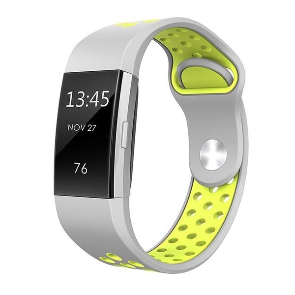 Fitbit charge 2 charge 3 耐克錶帶 雙色矽膠 運動手錶錶帶 簡約拼色 一體鏈接 舒適透氣 可調節式開口