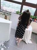 女童連身裙 夏裝 中小童圓點兒童連身裙 女童寶寶小清新娃娃領背心裙子 曼慕衣櫃