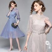 禮服 - 歐美亮珠網紗中長款大擺顯瘦兩件套連身裙【韓衣舍】