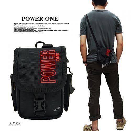 腰包上蓋式Powerone直式簡約掛包斜背包側背包 8784