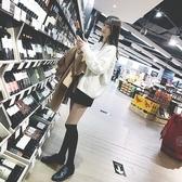 黑色豎條紋及膝襪女日系韓國學院風長襪美腿顯瘦純棉半截襪高筒襪