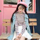 甜美拼色條紋圓領波邊長袖打底衫女正韓學院風T恤上衣熱賣夯款