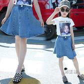 女童牛仔短裙新款春夏裝兒童正韓洋氣半身裙荷葉邊中大童裙子