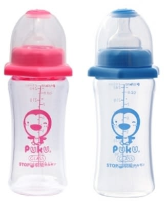 PUKU 藍色企鵝 寬口葫蘆玻璃奶瓶 250cc 兩色 P10178