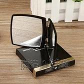 小香翻蓋摺疊鏡隨身便攜化妝鏡女放大補妝鏡定制手柄鏡子網紅學生 618促銷