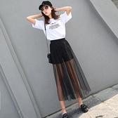 夏季新款網紗半身裙超薄透視女紗裙高腰單層黑色打底外搭透明長裙 【Ifashion】