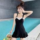 日系甜美學生顯瘦交叉美背綁帶荷葉邊吊帶無袖裙式連身泳衣女夏季 小艾新品