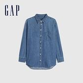 Gap女裝 純棉翻領長袖牛仔襯衫 660918-中度靛藍