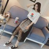 寬鬆短袖蕾絲網紗半身裙套裝夏T恤兩件套 ZL468『黑色妹妹』