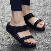 85折室外防滑孕婦時尚外穿涼拖鞋厚底松糕鞋99購物節