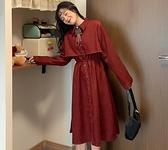 長裙 秋季2021年新款復古日系法式小眾長袖連衣裙女網紅中長款森系裙子【快速出貨八折搶購】