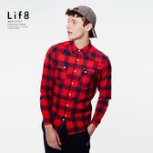 Casual 法蘭絨 格紋雙口袋 長袖襯衫-紅色【03885】