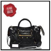 巴黎世家CLASSICGOLDCITYS小金扣手提/斜背機車包(黑色)431621全新商品
