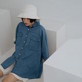 Queen Shop【01024277】壓線雙口袋寬版牛仔襯衫*現+預*