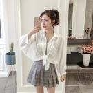 【快速出貨】 苑茵防曬衣女中長款學生韓版寬鬆夏季薄款超仙上衣雪紡襯衫外套