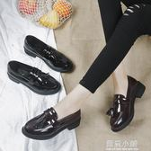 2018春新款小皮鞋女流蘇學院風樂福鞋粗跟單鞋平底淺口英倫風女鞋 藍嵐