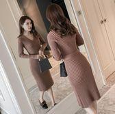 雙12鉅惠 2018秋冬新款韓版V領中長款針織連衣裙女修身打底過膝長袖毛衣裙
