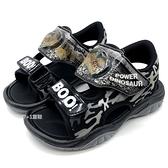 《7+1童鞋》 帥氣恐龍 電燈 魔鬼氈 涼鞋 E137 黑色