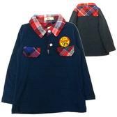 【韓版童裝】95徽章格紋POLO衫-藍【BM150212013】