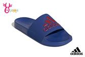 adidas 拖鞋 成人男款 防水 內裡速乾 經典三線設計 玩水戲水 運動拖鞋 R9335#藍色◆OSOME奧森鞋業