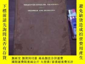 二手書博民逛書店近世英文選(32開精裝)(民國11年出版)(Selected罕見