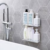 浴室置物架 雙層不銹鋼浴室置物架洗澡間壁掛洗漱架LJ8010『黑色妹妹』
