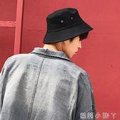 漁夫帽子男潮牌素色街頭夏天戶外街頭個性大碼平頂盆帽 蘿莉小腳ㄚ