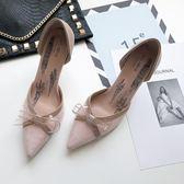 高跟鞋 氣質優雅蝴蝶結中空尖頭細跟單鞋 巴黎春天