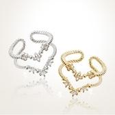 戒指 925純銀 鑲鑽-簡約造型生日情人節禮物女開口戒2色73dv20【時尚巴黎】