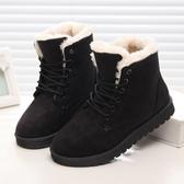 雪地靴女中筒短靴子加絨加厚馬丁靴棉鞋冬平底學生