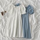 洋裝2021年春款新款女裝韓版時尚流行白色一字肩高腰修身裙子夏 喵小姐